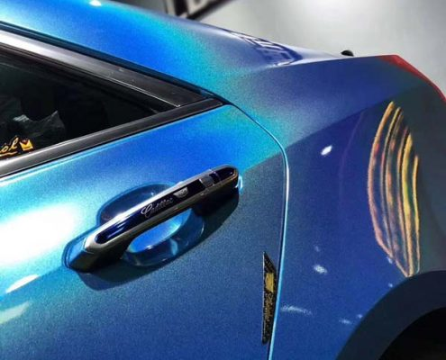 Blue car vinyl wrap laser film with rainbow effect