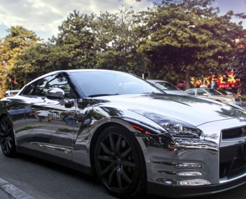 auto car decoration mirroe sliver chrome car wrap for wholesale
