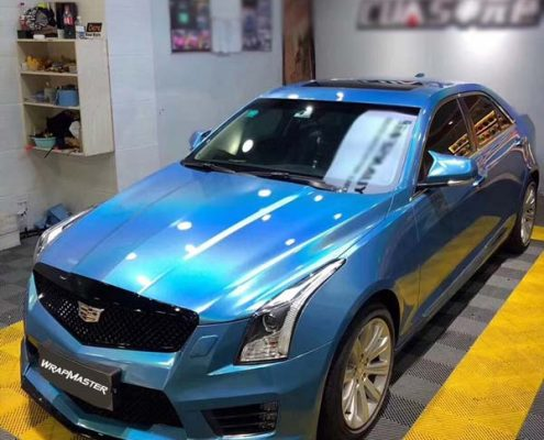 blue rainbow lase car vinyl wrap