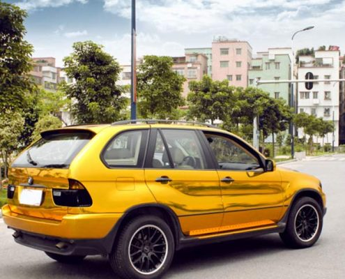 gold chrome vinyl car wrap