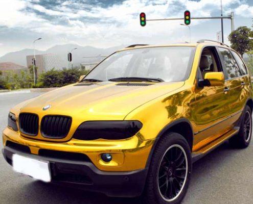 gold vinyl chrome film for car