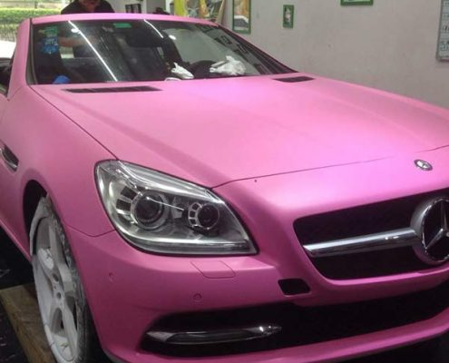 matte pink car wrap auto sticker