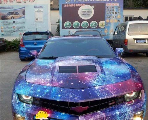 purple galaxy vinyl film wrap for car