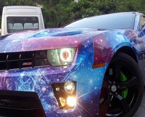 purple galaxy vinyl wrap for car