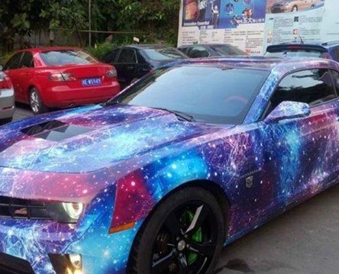purple galaxy vinyl wrap for car decoration