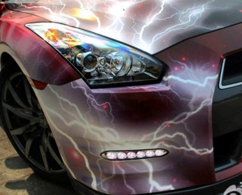 red lighting galaxy car wrap vinyl