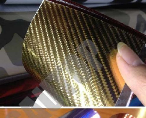 gold car chrome 4D carbon fiber vinyl