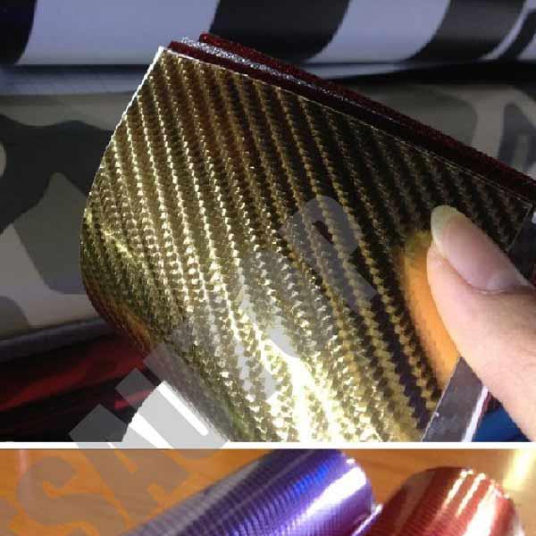 gold car chrome 4D carbon fiber vinyl
