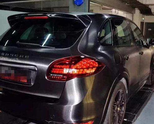 matte vinyl black brush matellic car wrap