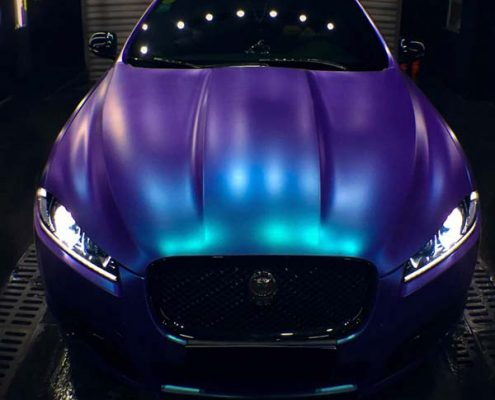 purple to blue car chameleon wrap