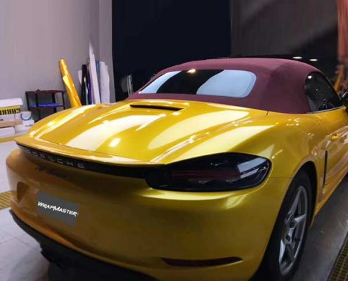Yellow car wrap super gloss metallic vinyl film auto wrappen