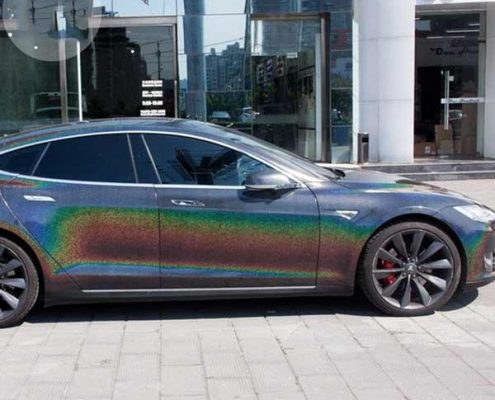 black iridescence laser car body wrap