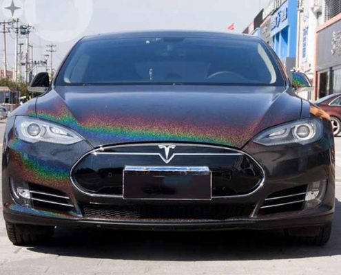 black iridescence laser car vinyl wrap