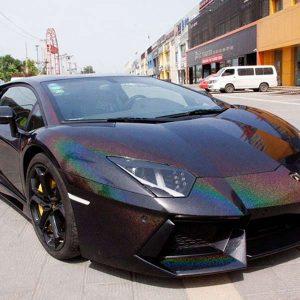 black iridescence laser vinyl wrap