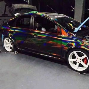 holographic black chrome laser vinyl wrap