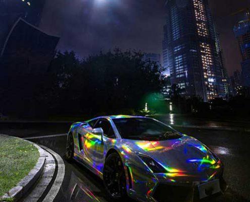 sliver holographic laser vinyl wrap