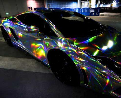 sliver holographic vinyl wrap