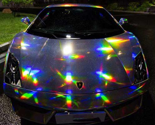 sliver holographic vinyl wrap chrome vinyl
