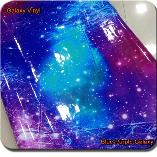 blue purple galaxy car wrap